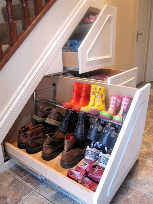 Custom Home Idea: Staircase Storage