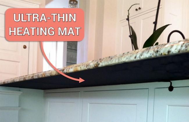 ultra thin heating mat under stone countertop overhang