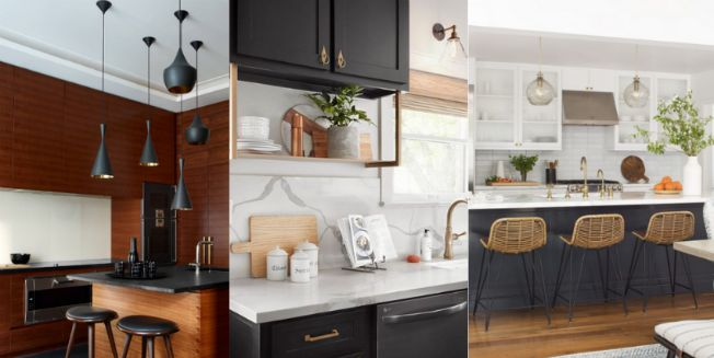 three side by side pictures of new kitchen interiors
