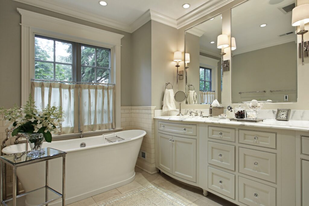 A white traditional bathroom made ready for guests to use.