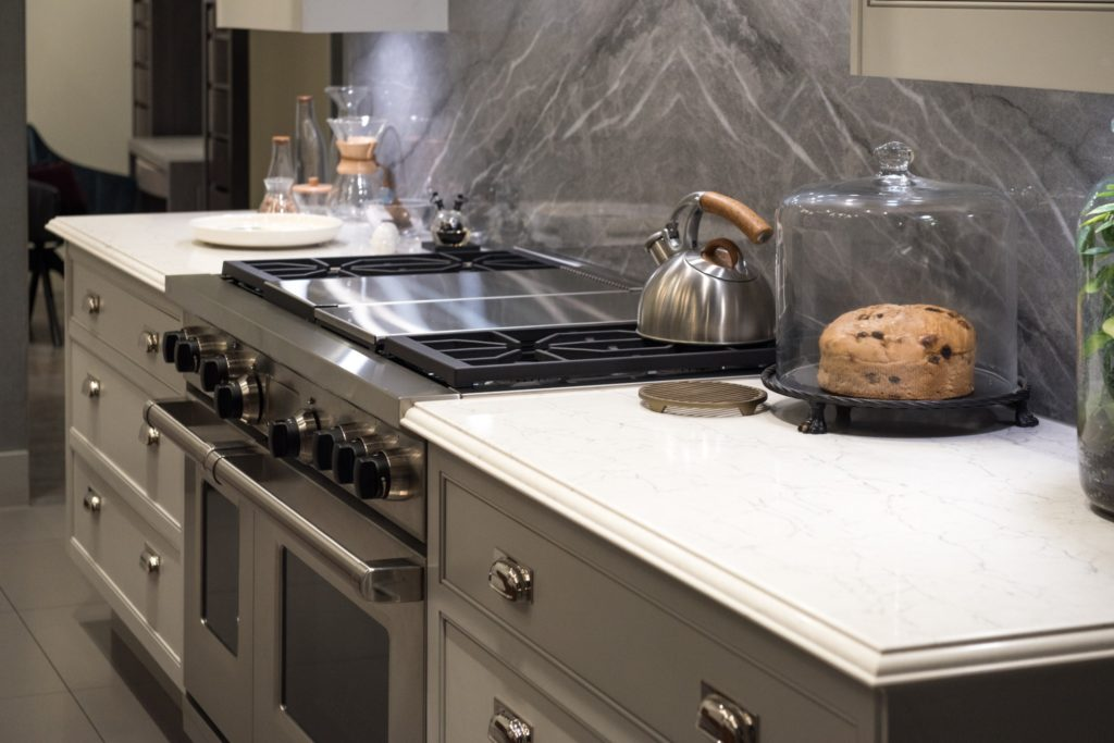 A natural stone counter with a beveled edge