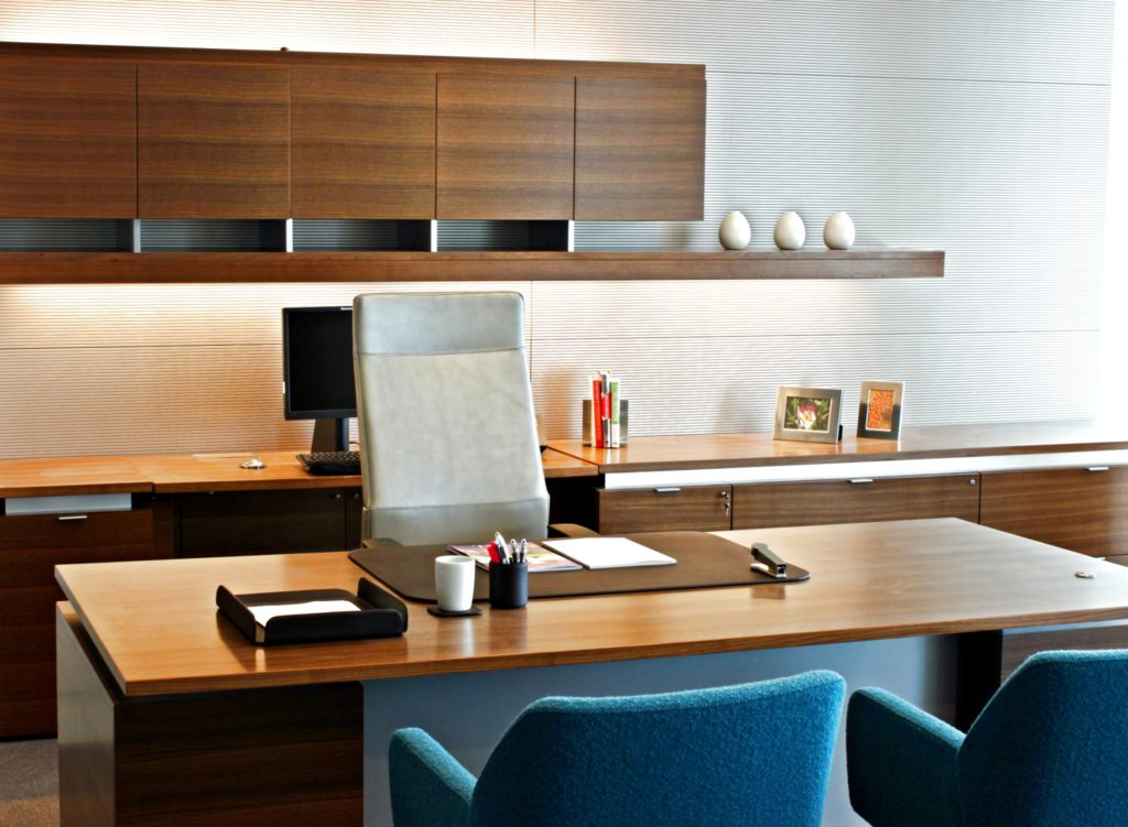 A luxury office with a stylish and comfortable desk chair.